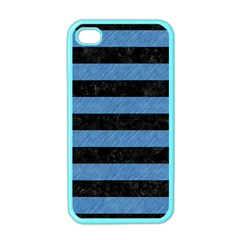 Stripes2 Black Marble & Blue Colored Pencil Apple Iphone 4 Case (color) by trendistuff