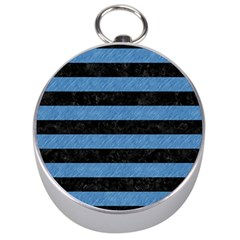 Stripes2 Black Marble & Blue Colored Pencil Silver Compass by trendistuff
