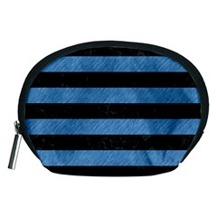 Stripes2 Black Marble & Blue Colored Pencil Accessory Pouch (medium) by trendistuff