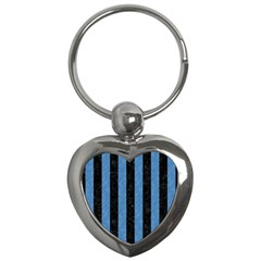 Stripes1 Black Marble & Blue Colored Pencil Key Chain (heart) by trendistuff