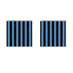 Stripes1 Black Marble & Blue Colored Pencil Cufflinks (square) by trendistuff