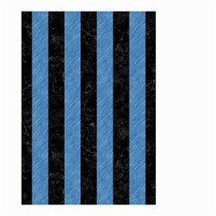 Stripes1 Black Marble & Blue Colored Pencil Small Garden Flag (two Sides) by trendistuff