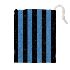 Stripes1 Black Marble & Blue Colored Pencil Drawstring Pouch (xl) by trendistuff