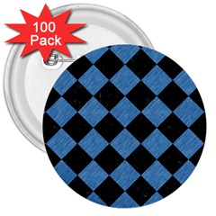 Square2 Black Marble & Blue Colored Pencil 3  Button (100 Pack) by trendistuff