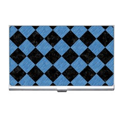 Square2 Black Marble & Blue Colored Pencil Business Card Holder