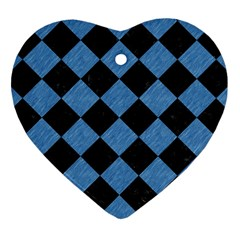 Square2 Black Marble & Blue Colored Pencil Heart Ornament (two Sides) by trendistuff