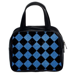 Square2 Black Marble & Blue Colored Pencil Classic Handbag (two Sides) by trendistuff