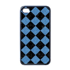 Square2 Black Marble & Blue Colored Pencil Apple Iphone 4 Case (black) by trendistuff