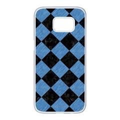 Square2 Black Marble & Blue Colored Pencil Samsung Galaxy S7 Edge White Seamless Case by trendistuff
