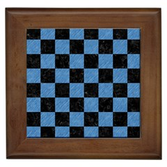 Square1 Black Marble & Blue Colored Pencil Framed Tile by trendistuff