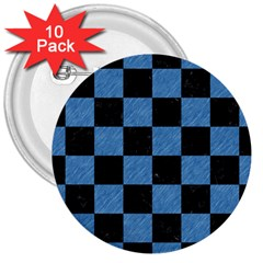 Square1 Black Marble & Blue Colored Pencil 3  Button (10 Pack) by trendistuff