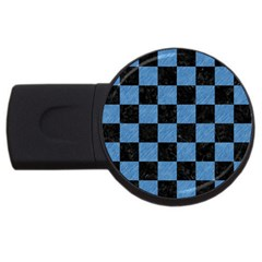 Square1 Black Marble & Blue Colored Pencil Usb Flash Drive Round (2 Gb) by trendistuff