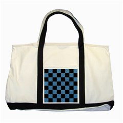 Square1 Black Marble & Blue Colored Pencil Two Tone Tote Bag by trendistuff