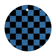 Square1 Black Marble & Blue Colored Pencil Round Ornament (two Sides) by trendistuff
