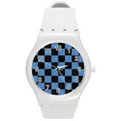 Square1 Black Marble & Blue Colored Pencil Round Plastic Sport Watch (m) by trendistuff