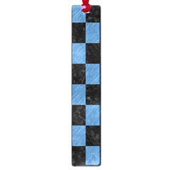 Square1 Black Marble & Blue Colored Pencil Large Book Mark by trendistuff
