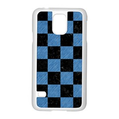 Square1 Black Marble & Blue Colored Pencil Samsung Galaxy S5 Case (white) by trendistuff