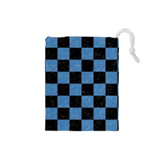 Square1 Black Marble & Blue Colored Pencil Drawstring Pouch (small) by trendistuff