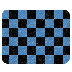 Square1 Black Marble & Blue Colored Pencil Double Sided Flano Blanket (medium) by trendistuff