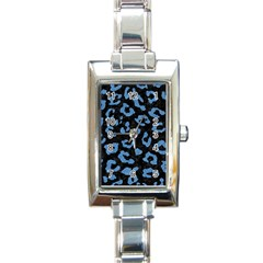 Skin5 Black Marble & Blue Colored Pencil (r) Rectangle Italian Charm Watch by trendistuff