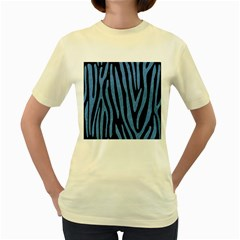 Skin4 Black Marble & Blue Colored Pencil (r) Women s Yellow T Shirt by trendistuff