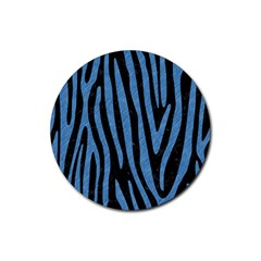 Skin4 Black Marble & Blue Colored Pencil (r) Rubber Coaster (round) by trendistuff