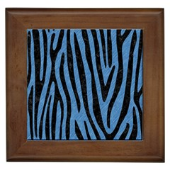 Skin4 Black Marble & Blue Colored Pencil Framed Tile by trendistuff
