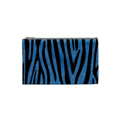 Skin4 Black Marble & Blue Colored Pencil Cosmetic Bag (small) by trendistuff