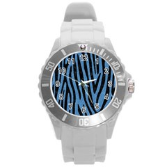 Skin4 Black Marble & Blue Colored Pencil Round Plastic Sport Watch (l)