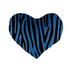 Skin4 Black Marble & Blue Colored Pencil Standard 16  Premium Flano Heart Shape Cushion  by trendistuff
