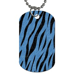 Skin3 Black Marble & Blue Colored Pencil (r) Dog Tag (one Side) by trendistuff