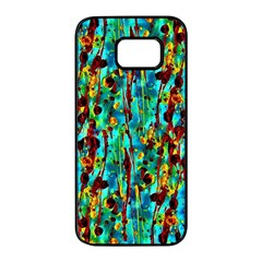 Turquoise Blue Green  Painting Pattern Samsung Galaxy S7 Edge Black Seamless Case by Costasonlineshop