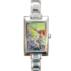 Woodpecker At Forest Pecking Tree, Patagonia, Argentina Rectangle Italian Charm Watch by dflcprints