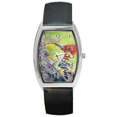 Woodpecker At Forest Pecking Tree, Patagonia, Argentina Barrel Style Metal Watch by dflcprints