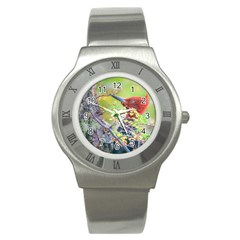 Woodpecker At Forest Pecking Tree, Patagonia, Argentina Stainless Steel Watch by dflcprints