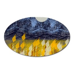 Blue And Gold Landscape With Moon Oval Magnet