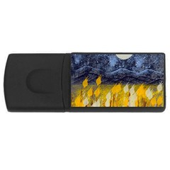 Blue And Gold Landscape With Moon Usb Flash Drive Rectangular (4 Gb) by theunrulyartist