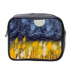 Blue And Gold Landscape With Moon Mini Toiletries Bag 2 Side by theunrulyartist