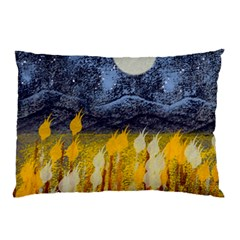 Blue And Gold Landscape With Moon Pillow Case (two Sides) by theunrulyartist