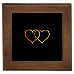 Heart Gold Black Background Love Framed Tiles by Nexatart