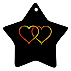 Heart Gold Black Background Love Ornament (star)
