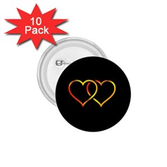 Heart Gold Black Background Love 1 75  Buttons (10 Pack) by Nexatart
