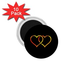 Heart Gold Black Background Love 1 75  Magnets (10 Pack)  by Nexatart