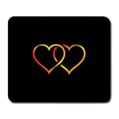 Heart Gold Black Background Love Large Mousepads by Nexatart