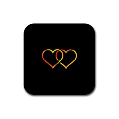 Heart Gold Black Background Love Rubber Square Coaster (4 Pack)