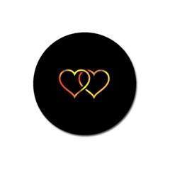 Heart Gold Black Background Love Magnet 3  (round)