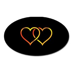 Heart Gold Black Background Love Oval Magnet by Nexatart