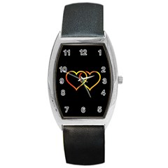 Heart Gold Black Background Love Barrel Style Metal Watch by Nexatart
