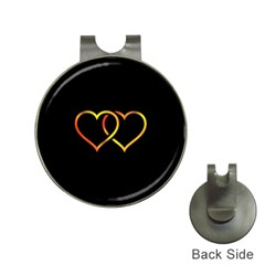 Heart Gold Black Background Love Hat Clips With Golf Markers by Nexatart