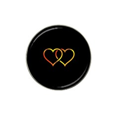 Heart Gold Black Background Love Hat Clip Ball Marker (10 Pack)